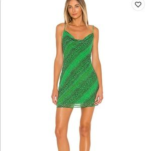 NBD green snakeskin maisie mini dress